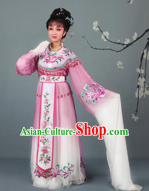 Top Grade Professional Beijing Opera Diva Costume Palace Lady Lilac Embroidered Dress, Traditional Ancient Chinese Peking Opera Princess Embroidery Peony Clothing