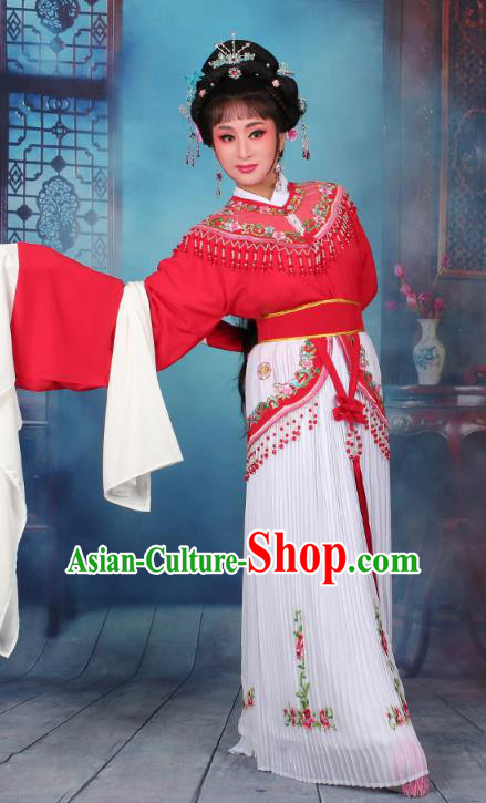 Top Grade Professional Beijing Opera Diva Costume Nobility Lady Red Embroidered Clothing, Traditional Ancient Chinese Peking Opera Hua Tan Princess Embroidery Dress