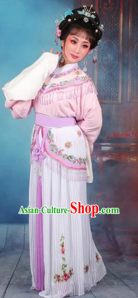 Top Grade Professional Beijing Opera Diva Costume Nobility Lady Lilac Embroidered Clothing, Traditional Ancient Chinese Peking Opera Hua Tan Princess Embroidery Dress