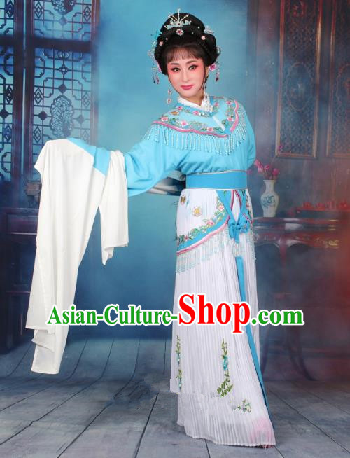 Top Grade Professional Beijing Opera Diva Costume Nobility Lady Light Blue Embroidered Clothing, Traditional Ancient Chinese Peking Opera Hua Tan Princess Embroidery Dress