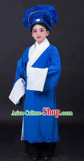 Top Grade Professional Beijing Opera Niche Costume Scholar Blue Robe and Headwear, Traditional Ancient Chinese Peking Opera Embroidery Clothing for Kids