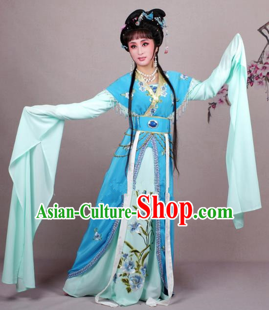 Top Grade Professional Beijing Opera Diva Costume Blue Embroidered Clothing, Traditional Ancient Chinese Peking Opera Hua Tan Princess Embroidery Dress
