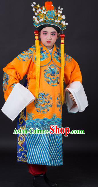 Traditional China Beijing Opera Costume Emperor Embroidered Yellow Robe and Headwear, Ancient Chinese Peking Opera Embroidery Dragon Gwanbok Clothing for Kids