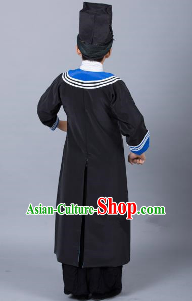 Top Grade Professional Beijing Opera Niche Costume Government Runners Black Robe and Headwear, Traditional Ancient Chinese Peking Opera Takefu Clothing for Kids