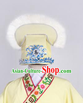 Top Grade Professional Beijing Opera Niche Costume Scholar Hair Accessories Headwear, Traditional Ancient Chinese Peking Opera Yellow Hat