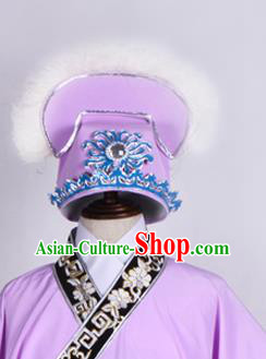 Top Grade Professional Beijing Opera Niche Costume Scholar Hair Accessories Headwear, Traditional Ancient Chinese Peking Opera Purple Hat