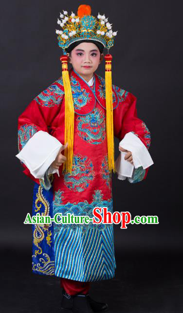 Traditional China Beijing Opera Costume Emperor Embroidered Robe and Headwear, Ancient Chinese Peking Opera Embroidery Dragon Gwanbok Clothing for Kids
