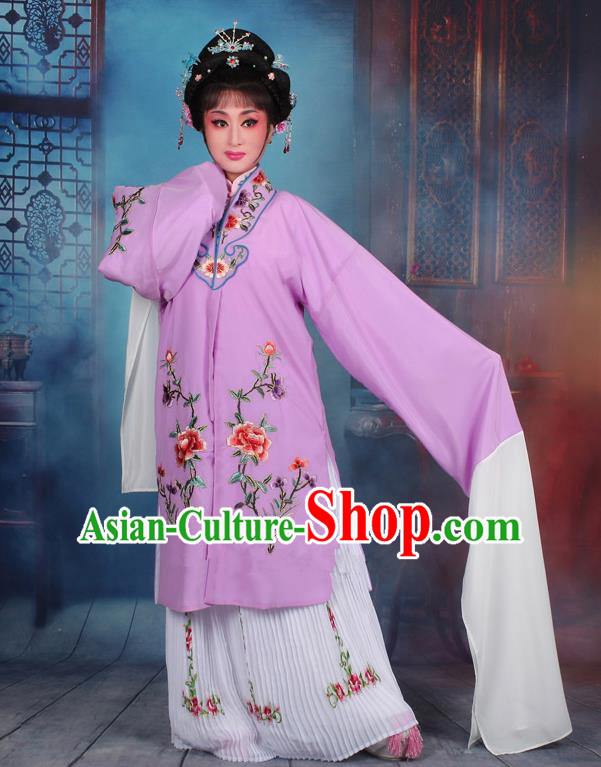 Top Grade Professional Beijing Opera Palace Lady Costume Hua Tan Purple Embroidered Cape Dress, Traditional Ancient Chinese Peking Opera Diva Embroidery Clothing