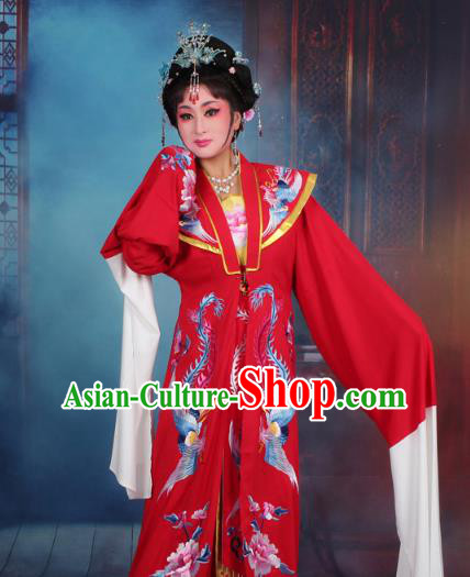 Top Grade Professional Beijing Opera Palace Lady Costume Hua Tan Embroidered Red Dress, Traditional Ancient Chinese Peking Opera Diva Embroidery Clothing
