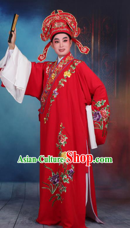 Top Grade Professional Beijing Opera Niche Costume Gifted Scholar Red Embroidered Robe, Traditional Ancient Chinese Peking Opera Embroidery Clothing