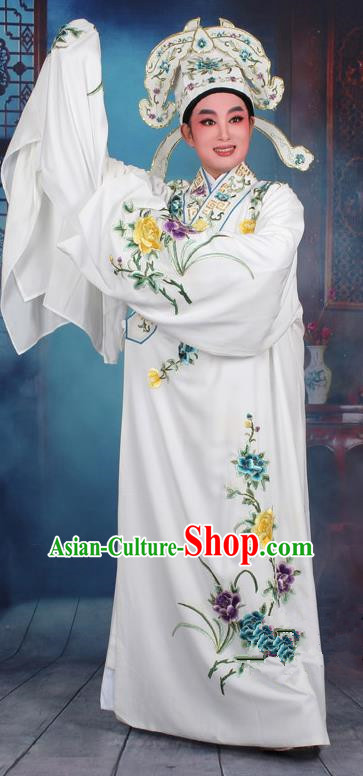 Top Grade Professional Beijing Opera Niche Costume Gifted Scholar White Embroidered Robe, Traditional Ancient Chinese Peking Opera Embroidery Clothing