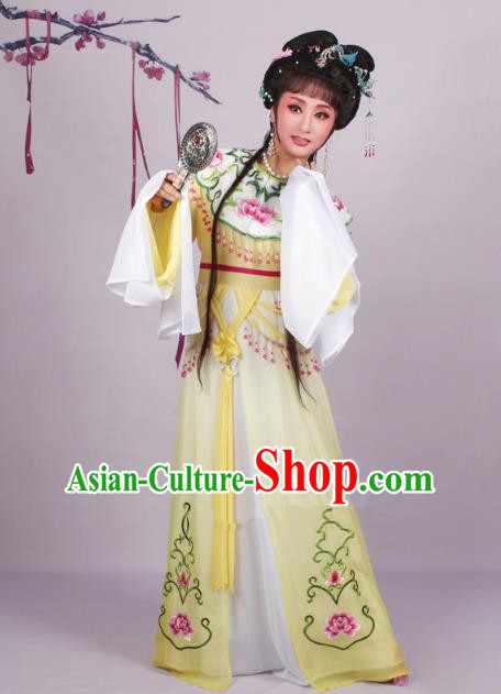 Top Grade Professional Beijing Opera Diva Costume Yellow Embroidered Dress, Traditional Ancient Chinese Peking Opera Hua Tan Princess Embroidery Clothing
