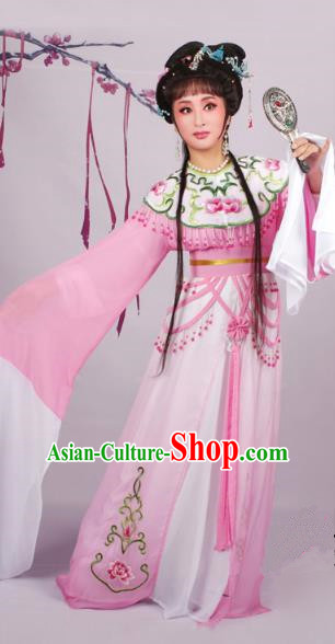 Top Grade Professional Beijing Opera Diva Costume Pink Embroidered Dress, Traditional Ancient Chinese Peking Opera Hua Tan Princess Embroidery Clothing