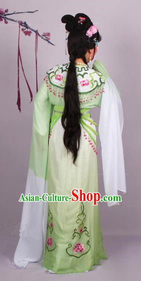 Top Grade Professional Beijing Opera Diva Costume Green Embroidered Dress, Traditional Ancient Chinese Peking Opera Hua Tan Princess Embroidery Clothing