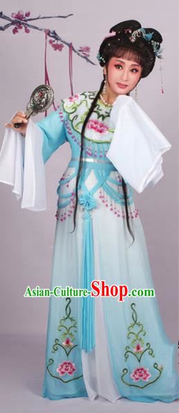 Top Grade Professional Beijing Opera Diva Costume Blue Embroidered Dress, Traditional Ancient Chinese Peking Opera Hua Tan Princess Embroidery Clothing