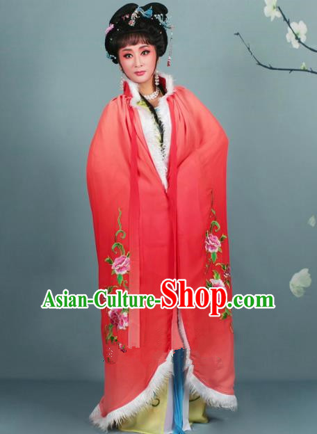 Top Grade Professional Beijing Opera Diva Costume Red Embroidered Cloak, Traditional Ancient Chinese Peking Opera Hua Tan Princess Embroidery Mantle