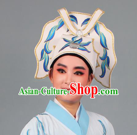 Top Grade Beijing Opera Niche Gifted Scholar Embroidered Blue Hat, Traditional Ancient Chinese Peking Opera Young Men Headwear