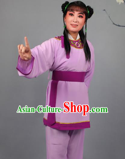 Top Grade Professional Beijing Opera Livehand Purple Costume, Traditional Ancient Chinese Peking Opera Lad Boy Book Clothing