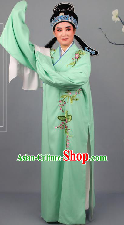 Top Grade Professional Beijing Opera Niche Costume Gifted Scholar Green Embroidered Robe and Headwear, Traditional Ancient Chinese Peking Opera Embroidery Peach Blossom Clothing