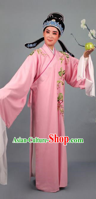 Top Grade Professional Beijing Opera Niche Costume Gifted Scholar Pink Embroidered Robe and Headwear, Traditional Ancient Chinese Peking Opera Embroidery Peach Blossom Clothing