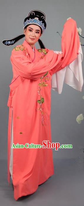 Top Grade Professional Beijing Opera Niche Costume Gifted Scholar Orange Embroidered Robe and Headwear, Traditional Ancient Chinese Peking Opera Embroidery Peach Blossom Clothing