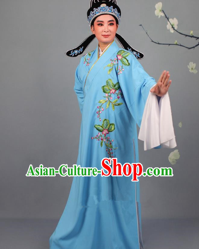 Top Grade Professional Beijing Opera Niche Costume Gifted Scholar Blue Embroidered Robe and Headwear, Traditional Ancient Chinese Peking Opera Embroidery Peach Blossom Clothing