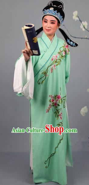 Top Grade Professional Beijing Opera Niche Costume Gifted Scholar Green Embroidered Robe and Headwear, Traditional Ancient Chinese Peking Opera Embroidery Roses Clothing
