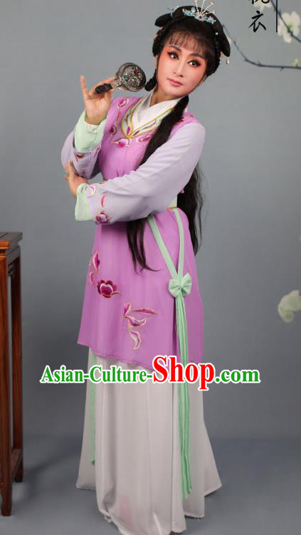 Top Grade Professional Beijing Opera Young Lady Costume Purple Hua Tan Embroidered Dress, Traditional Ancient Chinese Peking Opera Maidservants Embroidery Clothing