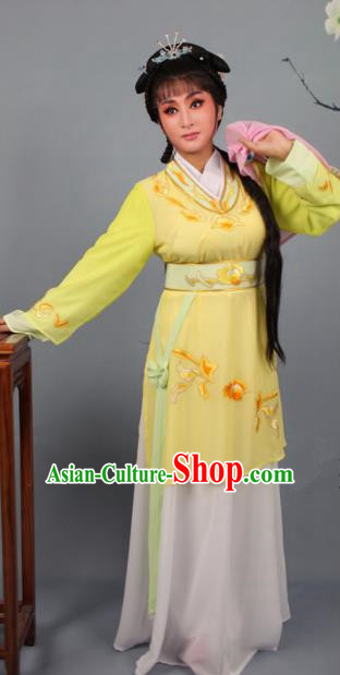 Top Grade Professional Beijing Opera Young Lady Costume Yellow Hua Tan Embroidered Dress, Traditional Ancient Chinese Peking Opera Maidservants Embroidery Clothing