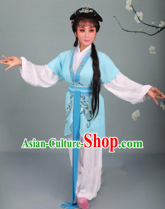 Top Grade Professional Beijing Opera Young Lady Costume Handmaiden Blue Embroidered Suit, Traditional Ancient Chinese Peking Opera Maidservants Embroidery Clothing