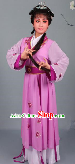 Top Grade Professional Beijing Opera Young Lady Diva Costume Handmaiden Purple Embroidered Dress, Traditional Ancient Chinese Peking Opera Maidservants Embroidery Clothing