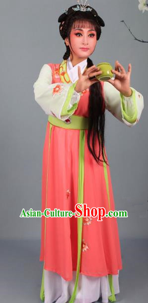 Top Grade Professional Beijing Opera Young Lady Diva Costume Handmaiden Orange Embroidered Dress, Traditional Ancient Chinese Peking Opera Maidservants Embroidery Clothing