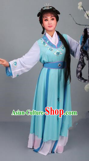 Top Grade Professional Beijing Opera Young Lady Diva Costume Handmaiden Blue Embroidered Dress, Traditional Ancient Chinese Peking Opera Maidservants Embroidery Clothing