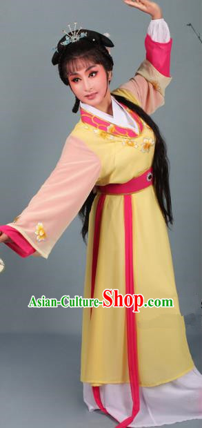 Top Grade Professional Beijing Opera Young Lady Diva Costume Handmaiden Yellow Embroidered Dress, Traditional Ancient Chinese Peking Opera Maidservants Embroidery Clothing
