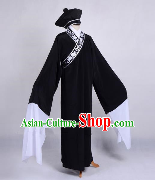 Top Grade Professional Beijing Opera Niche Costume Scholar Black Robe Priest Frock, Traditional Ancient Chinese Peking Opera Young Men Embroidery Clothing
