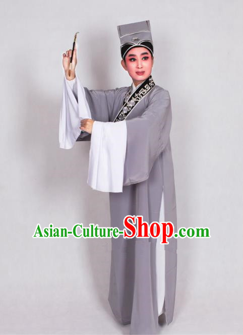 Top Grade Professional Beijing Opera Niche Costume Scholar Grey Robe Priest Frock, Traditional Ancient Chinese Peking Opera Young Men Embroidery Clothing