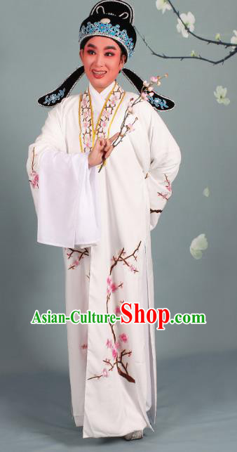Top Grade Professional Beijing Opera Niche Costume Scholar White Embroidered Robe and Shoes, Traditional Ancient Chinese Peking Opera Young Men Embroidery Plum Blossom Cape Clothing