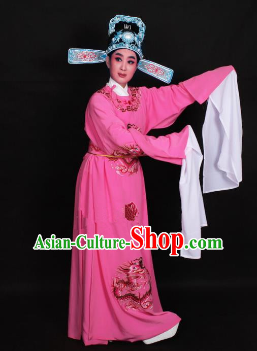 Top Grade Professional Beijing Opera Niche Costume Lang Scholar Deep Pink Embroidered Robe and Hat, Traditional Ancient Chinese Peking Opera Young Men Embroidery Dragons Clothing