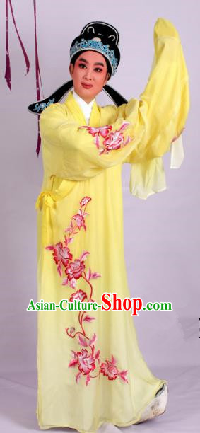 Top Grade Professional Beijing Opera Niche Costume Scholar Yellow Double-deck Embroidered Robe and Hat, Traditional Ancient Chinese Peking Opera Young Men Embroidery Clothing