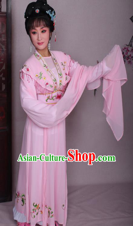 Top Grade Professional Beijing Opera Hua Tan Costume Pink Embroidered Dress, Traditional Ancient Chinese Peking Opera Diva Embroidery Clothing
