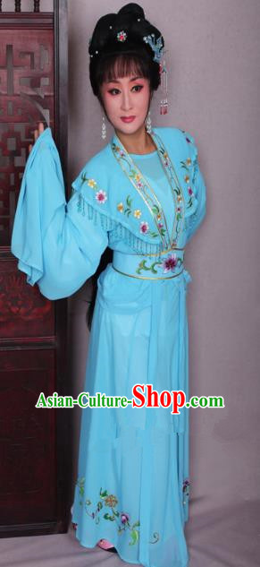 Top Grade Professional Beijing Opera Hua Tan Costume Blue Embroidered Dress, Traditional Ancient Chinese Peking Opera Diva Embroidery Clothing