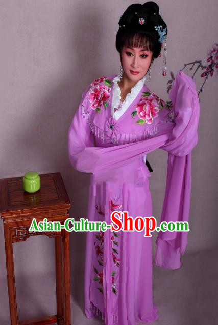 Top Grade Professional Beijing Opera Hua Tan Costume Palace Lady Purple Embroidered Peony Dress, Traditional Ancient Chinese Peking Opera Diva Princess Embroidery Clothing