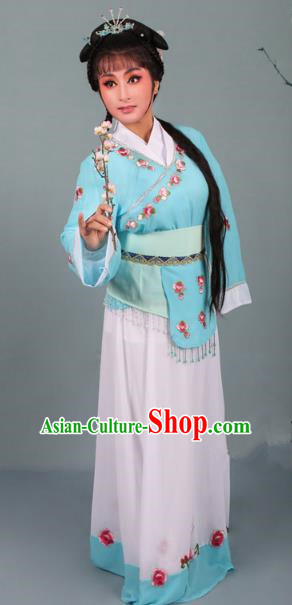 Top Grade Professional Beijing Opera Young Lady Costume Handmaiden Sky Blue Embroidered Dress, Traditional Ancient Chinese Peking Opera Maidservants Embroidery Clothing
