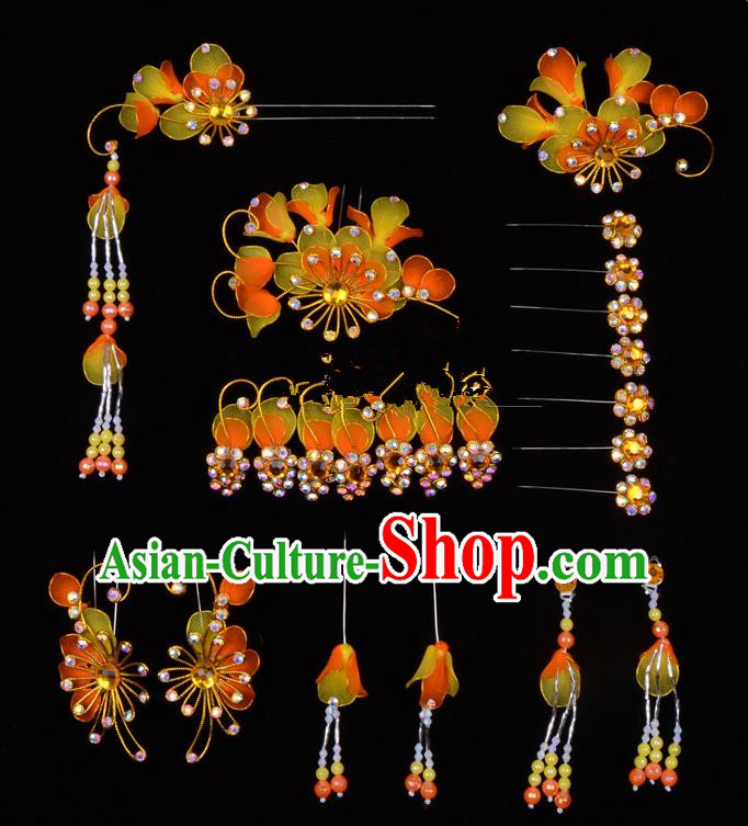 Top Grade Professional Beijing Opera Diva Orange Hair Accessories Complete Set, Traditional Ancient Chinese Peking Opera Tassel Step Shake Hua Tan Hairpins Headwear