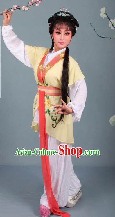 Top Grade Professional Beijing Opera Young Lady Costume Handmaiden Yellow Embroidered Suit, Traditional Ancient Chinese Peking Opera Maidservants Embroidery Clothing