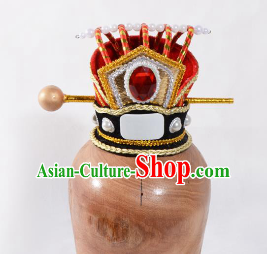Top Grade Professional Beijing Opera Han Dynasty Prince Headwear, Traditional Ancient Chinese Peking Opera Chancellor Hat