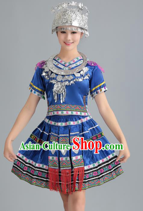 Traditional Chinese Miao Nationality Dance Costume, Hmong Female Folk Dance Ethnic Blue Pleated Skirt, Chinese Minority Nationality Embroidery Clothing for Women