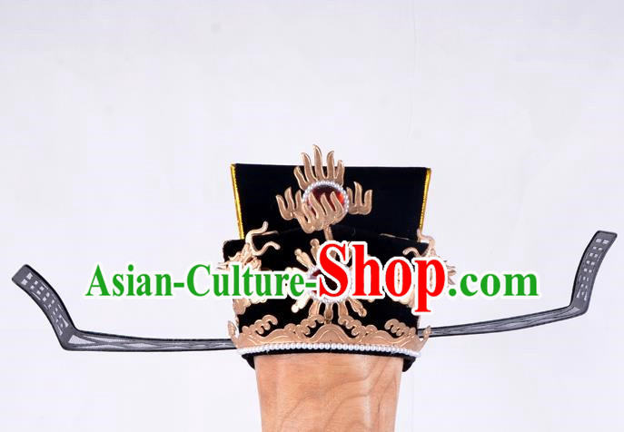 Top Grade Professional Beijing Opera Niche Costume Prime Minister Official Hat Headwear, Traditional Ancient Chinese Peking Opera Young Men Headpiece Black Gauze Cap