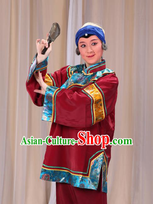 Top Grade Professional Beijing Opera Old Women Costume Pantaloon Embroidered Amaranth Clothing, Traditional Ancient Chinese Peking Opera Matchmakers Embroidery Clothing