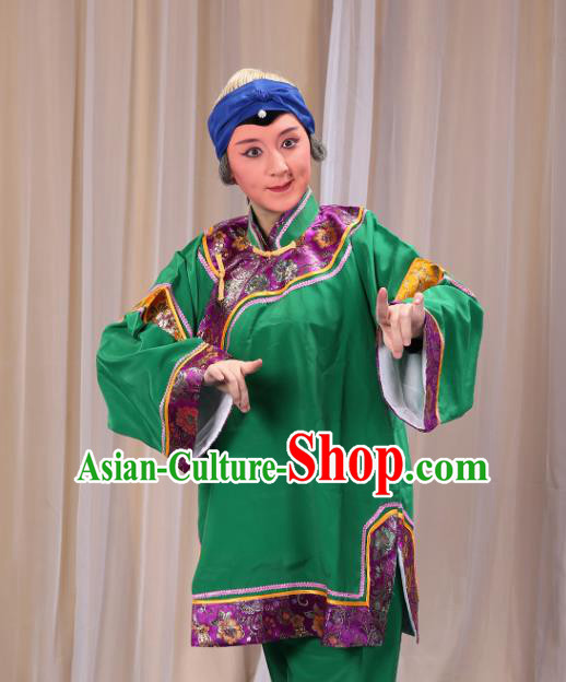 Top Grade Professional Beijing Opera Old Women Costume Pantaloon Embroidered Green Clothing, Traditional Ancient Chinese Peking Opera Matchmakers Embroidery Clothing